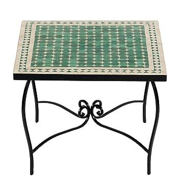 Marokkanischer Mosaiktisch COUCHTISCH 60x60 cm Gartentisch Beistelltisch Terrassentisch Fliesentisch (Mebo: grun/natur)