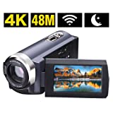 SEREE Camcorder 4K 48MP WIFI Control Digitial Camera 3.0'' Touch Screen Night Vision Video Camcorder