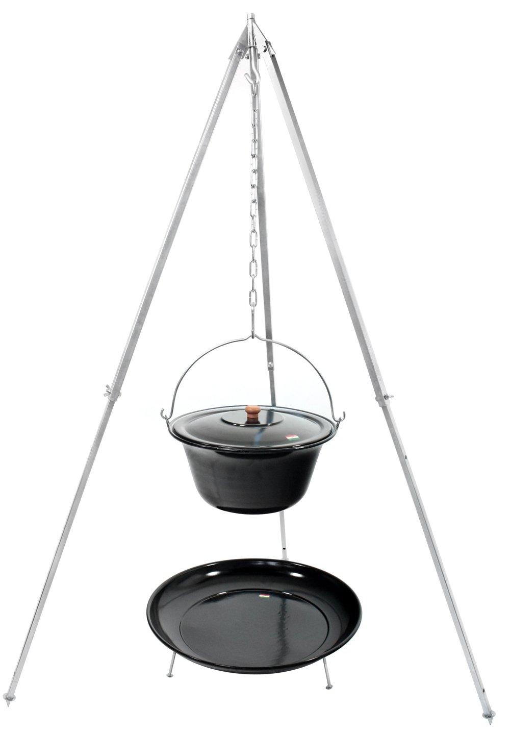 Gulaschkessel 15 Liter emailliert, Teleskopgestell 180 extra stark verzinkt Deckel Feuerstelle Holzlöffel online kaufen