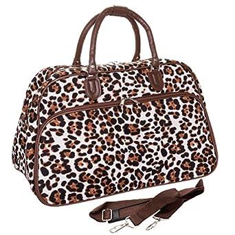 World Traveler Animal Print Travel Bag, Brown and Cream with Brown Trim