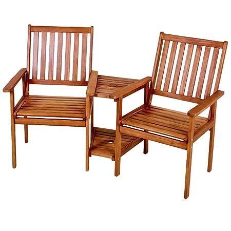 Doppelsessel EDISON Gartenstuhl Sonnenschirmvorrichtung Tisch Stuhl 2-sitzer Eukalyptus NEU