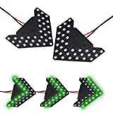 LEADTOPS 2PCS Universal Add On Item Sequential Flashing 33 SMD Green Arrow Running LED Lights Bulbs for Side Mirror Turn Signals Rear View Mirror Indicator (33SMD Green Light) (Color: 33SMD Green Light)