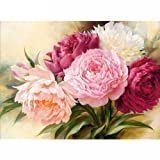 5D Full Drill Diamond Painting Square Rhinestone Rose Peony Flowers DIY Embroidery Arts Craft Adults' Children's Paint Paint-By-Diamond Kits cross stitch for Home Decoration 12X16 inch (Peony Flowers) (Color: Peony Flowers, Tamaño: 12X16 inch)