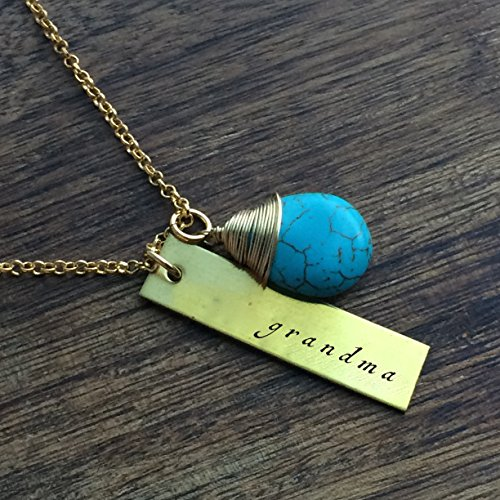 Grandma Necklace For Grandma Brass Turquoise Stone Mother's Day Gift Birthday Gift Christmas Gift Necklace Brass