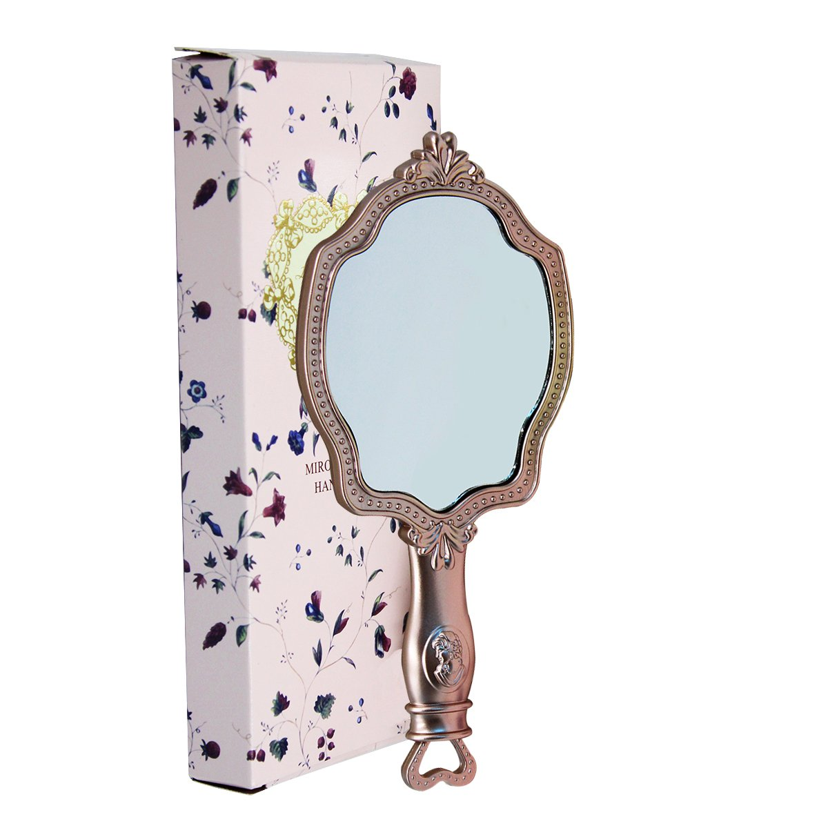 Girls Embossed Vintage Make-Up Hand Table Mirror Hand Held Makeup Mirror Princess Style Ideal Gift 0