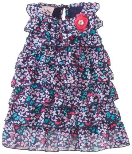 Little Lass Baby-Girls Newborn Butterfly Print Chiffon Dress, Navy, 6/9 Months