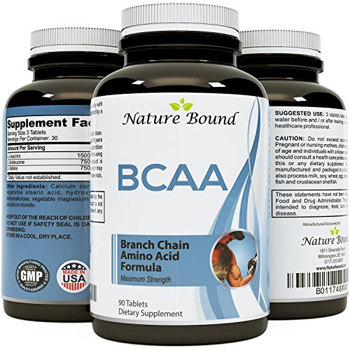 Best BCAA Supplement - Amazing Bodybuilding + Pre Workout Results - Pure Branched Chain Amino Acids - L-Leucine + Food Grade Formula for Men and Women - USA Made by Nature Bound (Organic Bcaa compare prices)