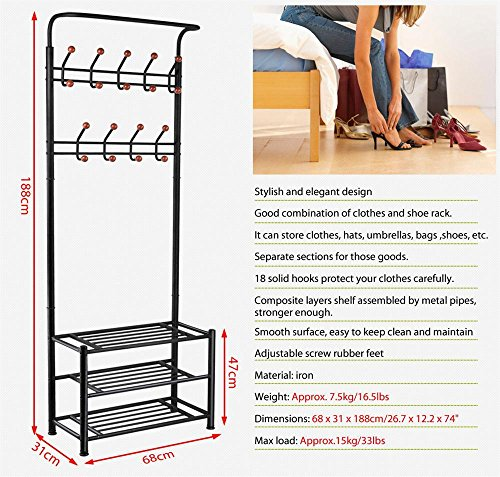 Yaheetech Metal Multi-purpose Coat Clothes Stand Shoes Rack Umbrella Stand With Hanging Hooks Black
