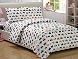 Full Size Mk Colletion 4 Pc Sheet Set Kids Teens boys White Blue Red Yellow Trucks Tractors Cars New