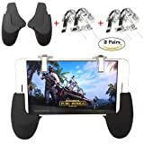 [4 Triggers+2 Gamepads] PUBG Mobile Controller, Mobile Game Controller Cellphone Game Trigger Sensitive Shoot Aim Keys L1R1 Mobile Trigger for PUBG/Fornite/Knives Out/Rules of Survival Gift for Kids