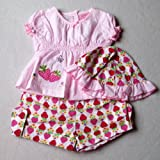 Baby Girls Cute Summer Clothes - 12-18 months - Gorgeous Pink White and Red Strawberries Short-sleeved Top Shorts & Sun Hat Outfit Set