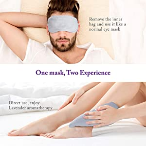 Unimi Lavender Eye Pillow, Aromatherapy Eye Mask for Sleeping, Weighted Sleep Mask for Men & Women, Hot Therapy Eye Cover for Yoga, Headache, Puffy Eyes, Migraine Relief, Sinus Pain (Color: Grey)
