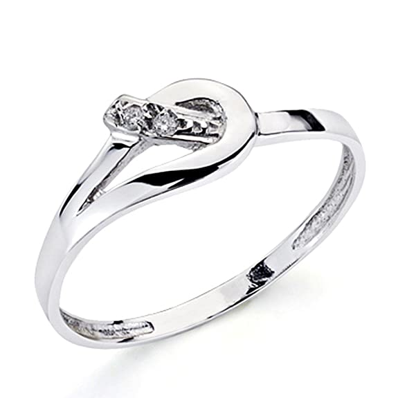 18k white gold ring 2 shiny diamonds 0,016ct [7388]