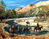 River Crossing Limited Edition Fine Art Print Native American Indian Winter by Patrick Rahming