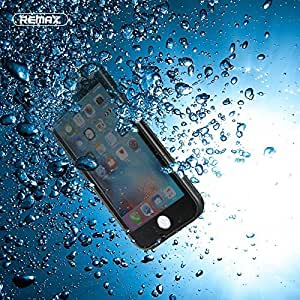 BlueInk Premium Remax Slim Water proof case for iPhone 6/6S; IP68 Certified, Designed to military standard Waterproof Snowproof Dirtpoof Shock Resistant Protective Case Cover with Fingerprint Recognition Touch ID (Black)