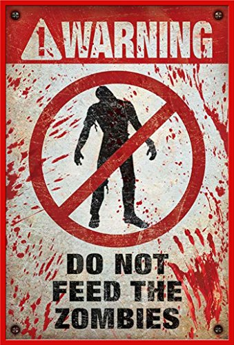 """Poster con scritta """"Warning! Do Not Feed The zombies ¡attenzione non alimentare [i] zombies. Kunststoff-Rahmen Rot"""