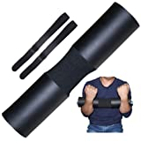 Greententljs Weight Lifting Cushion Padding, Fit Olympic & Standard Barbell Bar - Sponge Foam Pad Workout for Squats, Hip Thrusts, Power Weightlifting Gym Exercise Support Shoulder Equipment (Black) (Color: Black)