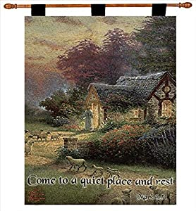 "Thomas Kinkade ""The Good Shepherd's Cottage"" Tapestry Wall Hanging 26"" X 36"""
