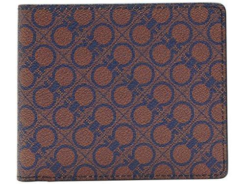 (サルヴァトーレ・フェラガモ) Salvatore Ferragamo 財布 サイフ メンズ 二つ折り財布 キャロットオレンジ ブルー PVC 669907-0604764 ブランド 並行輸入品