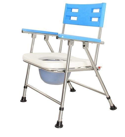 LI JING SHOP - Schienale pieghevole del tubo dell'acciaio inossidabile della sedia della toilette con dimensione di regolazione dei file del bracciolo 3: 57X56X81-85cm