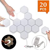 Smart Touch-Sensitive Hexagonal Wall Lights Modular LED Honeycomb Night Lights Creative Geometry Assembly DIY Modern Wall Lamps Decoration for Bedroom DIY Lovers Gifts (20 Pack+2 Adapter) (Color: 20 Pack+2 adapter)