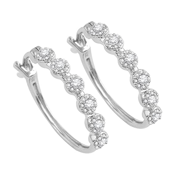 Pave Prive 9ct White Gold with White Diamonds Circles Hoop Earrings