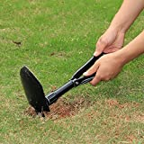 "Ollieroo® Folding Shovel With Cover D Handle 22.8"" Black Steel Mini Camping Shovel Tool"