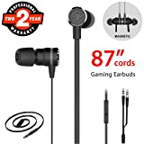 Gaming Earbuds, Noise Isolating Stereo Bass In Ear Headphones with Microphone 86 Inch Long Cord Extension Cable PC Adapter Magnetic Headset Earphones for Computer, iPhone, Samsung, Laptop, PSP - Black