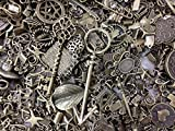 PEPPERLONELY Brand, 30pc Assorted Size Antiqued Bronze Charms, Bails, Jumprings, Cameo Bezel Sett...