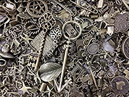 30pc Assorted Size Antiqued Bronze Charms, Bails, Jumprings, Cameo Bezel Sett...