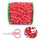DomeStar Red Pearl Garland, 100 Feet Pearl Strands Bead Garland Pearl Beaded Trim, Decorative Pearls on String Christmas Tree Decorations (Color: Red 100feet, Tamaño: Small)