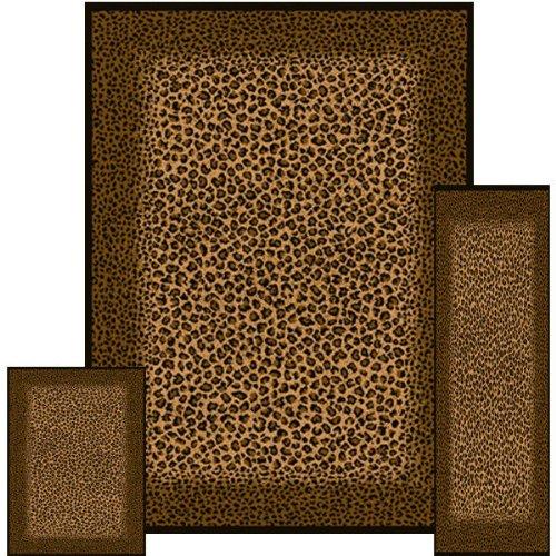 Southwestern Leopard Skin Animal Safari Area Rug 3 Pieces Set United (5'x8) (2x6) (2x3)