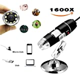 Newest 2 in 1 USB 1600x USB Digital Microscope Endoscope 2MP 8 LED for Mac Window 7 8 10 Android Linux