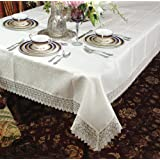 """Treasure Lace Tablecloth White 70"""" by 120"""" Oblong / Rectangle"""