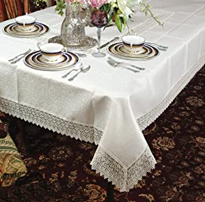 Treasure lace tablecloth white 70 by 140 for Table 140 x 70