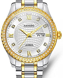Mastop Men's Diamond-Accented Bezel White Dial two-tone Band l Automatic Mechanical Watch