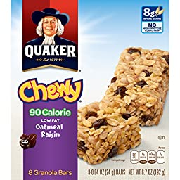 Quaker Chewy Granola Bars, Oatmeal Raisin, 90 Calories, Low Fat, 8 (0.84 Oz) Bars Per Box (Pack of 6)