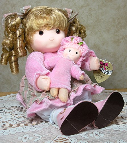 Old-Fashioned-Musical-Girl-Rag-Doll-with-Motion-Wind-Up-Toy-Emma-Pink-Fabric-Material-Pattern-Dress-Blonde-Curly-Hair-with-Bows-Holding-her-Doll-Collectible-Keepsake-Unique-Birthday-Gift-for-Daughter-