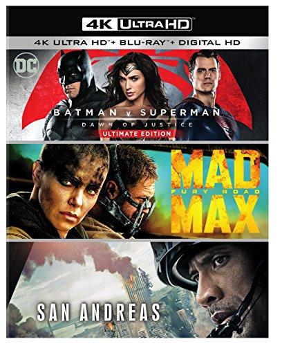 Batman v Superman: Dawn of Justice Ultimate Edition, Mad Max: Fury Road, San Andreas (Amazon Exclusive) (4K Ultra HD) [Blu-ray] at Gotham City Store