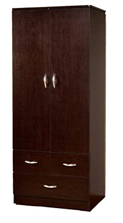 Wardrobe Bedroom Armoire with 2 Doors and 3 Drawers in Espresso Finish