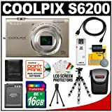 Nikon Coolpix S6200 Digital Camera (Silver) with 16GB Card + Battery + Case + HDMI Cable + Flex Tripod + Accessory Kit