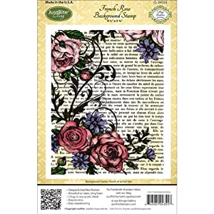 JustRite French Rose Cling Mounted Rubber Background Stamp CL-04355