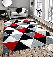 Flash Diamond Black Red by Modern Style Rugs