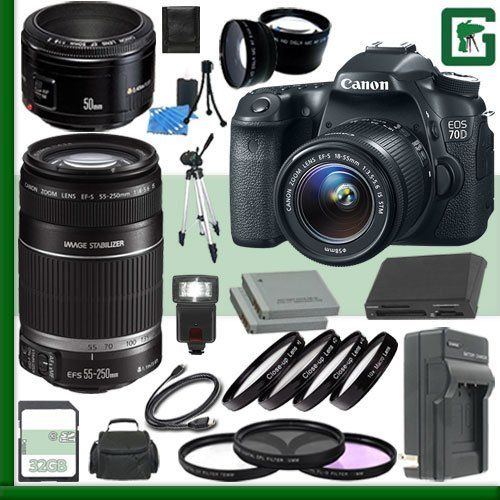 Canon EOS 70D Digital SLR Camera Kit with 18-55mm IS STM Lens and Canon 50mm f/1.8 Lens and Canon 55-250mm Lens + 32GB Green's Camera Package