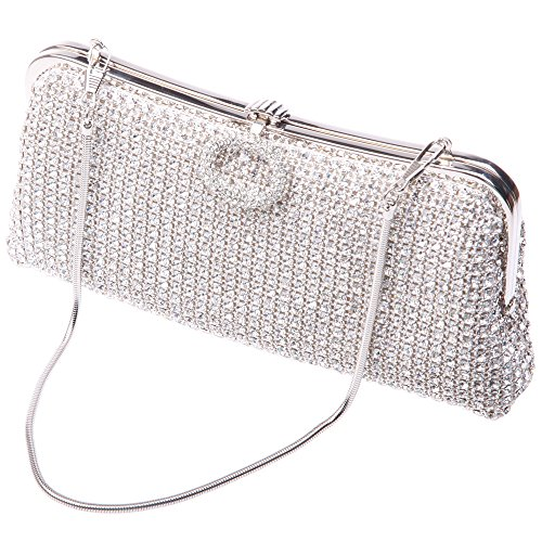 Fawziya Luxury Ring Buckle Clutch Purse Soft Crystal Evening Clutch Bags-Silver