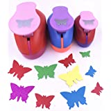 TECH-P Set of 3PCS (2 inch+1.5 inch+1inch) Craft Punch Set Paper Punch Paper Punch Tool Eva Punches for Making Arts Crafts Projects Cards Scrapbooking Garland Hanging Decorations (Butterfly) (Color: Butterfly)