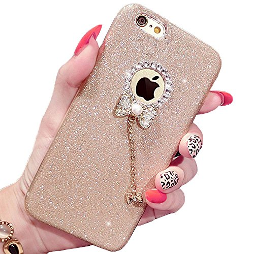 Iphone 6 cases,I-Fashion 3D Cute Bling Glitter Rubber Case with Sparkly Crystal Rhinestones bow knot pearls pendant Charms for iphone 6/6s Champagne Gold (Nail Polish Iphone 6 Case compare prices)