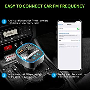 ZEXMTE Bluetooth FM Transmitter for Car QC 3.0 Wireless Bluetooth FM Audio Transmitter Adapter with Hands-Free Calling,Support USB Disk, Universal Blu
