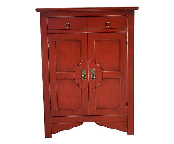Esidra 3962-M1 Credenzina, 2 Cassetti, Legno, Rosso, 85 x 37 x 115 cm