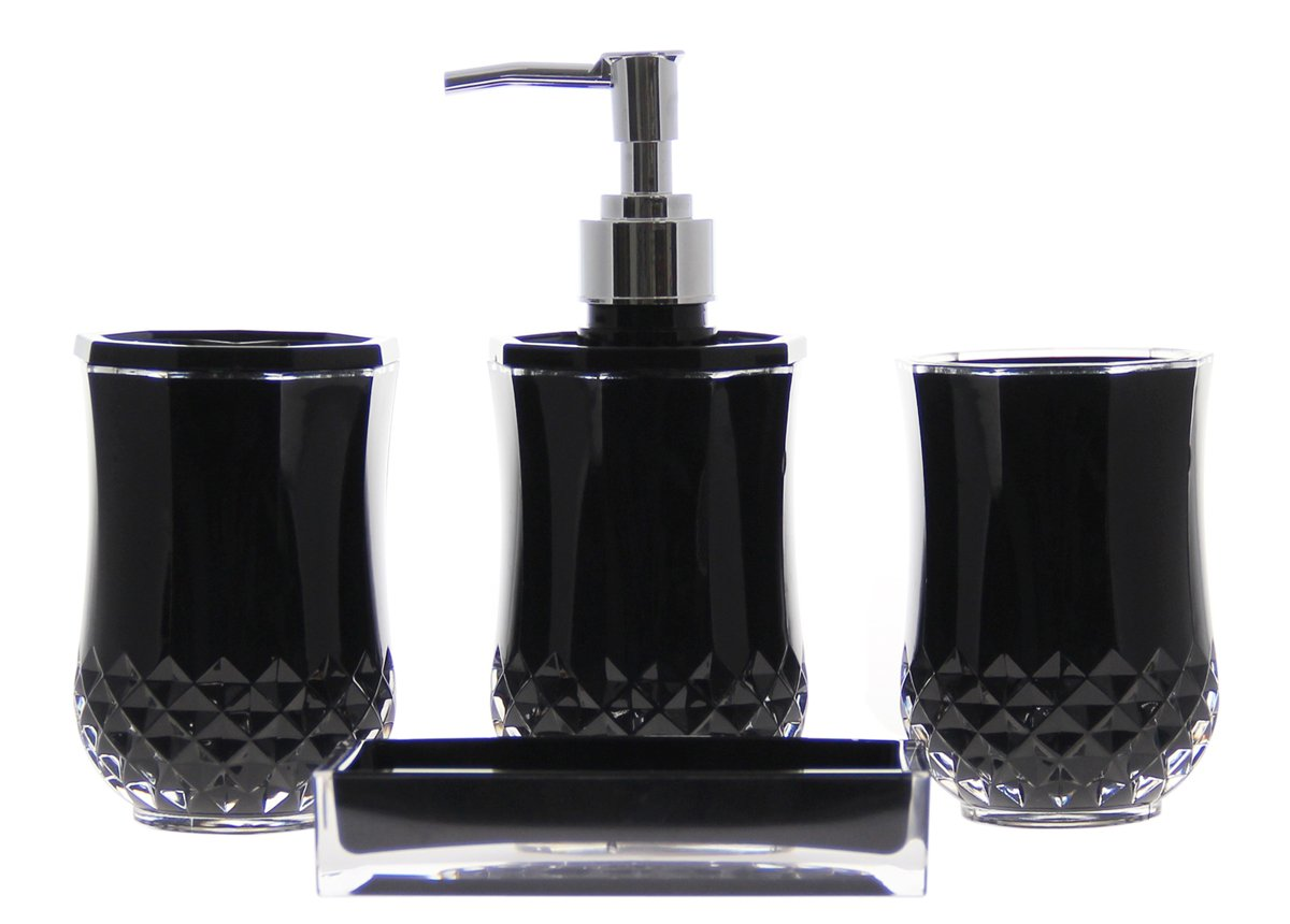 4 piece bathroom accessory soap dispenser dish for Bathroom 4 piece set